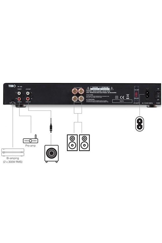 Amplificador de Potência estéreo Tibo PA150 preto