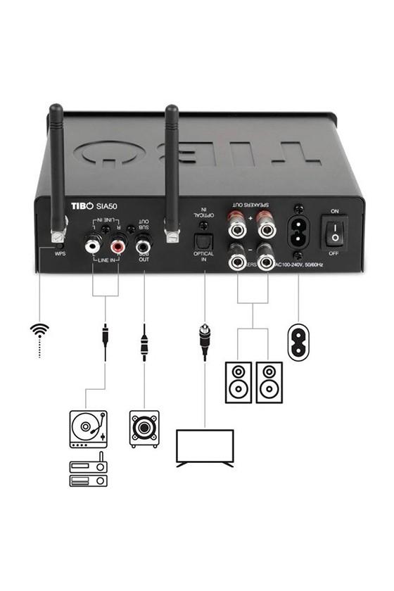 Amplificador Integrado Streaming WiFi Tibo SIA 50 preto